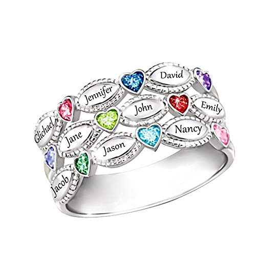 Shiny Alice Personalized Mothers Rings 9 Simulated Birthstones Rings for Mother Name Rings Mother Grandmother Gifts for Mother's Day(Silver 7.5)