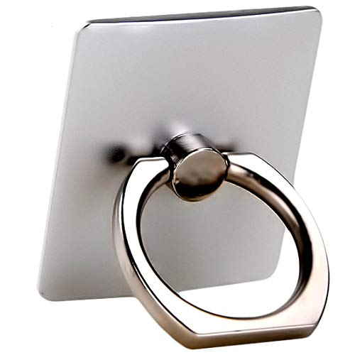 (iBarbe Phone Ring Holder,360 Rotation Finger Ring Stand Metal Finger Holder Phone Grip Universal Compatible with iPhone X,XS MAX,8,7,7Plus,6s,Galaxy S7 S8 S9 S9 Plus More Smartphones-Silver)