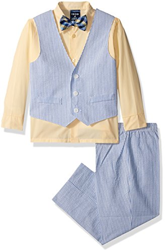 Izod boys 4-Piece Vest Set with Dress Shirt, Bow Tie, Pants, and Vest, Yellow Veil, ()