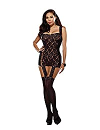 Dreamgirl Women's Plus-Size Tahiti Garter Dress With Attached Stockings