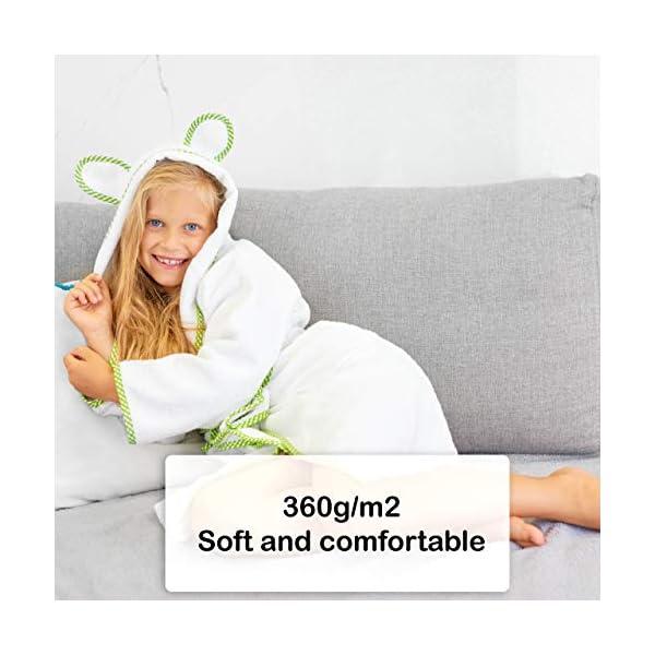 Lovely Hippo - Accappatoio bambini : bambina e bambino, 100% cotone Oeko-Tex senza sostanze chimiche, design francese 3