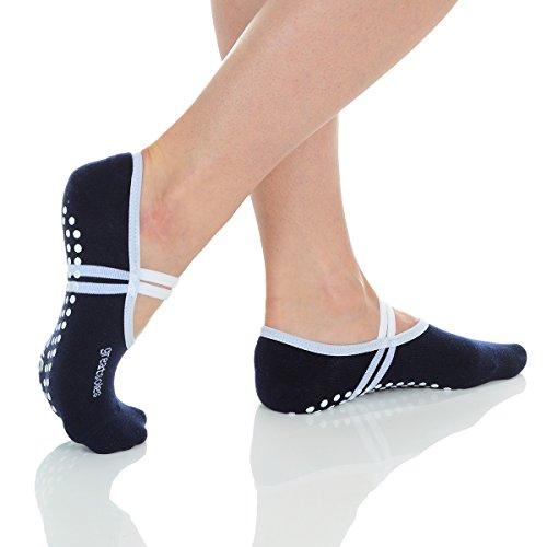 Great Soles Ballet Socks with Grip for Women - Non Slip Yoga Socks for Pilates, Barre (Navy/White)
