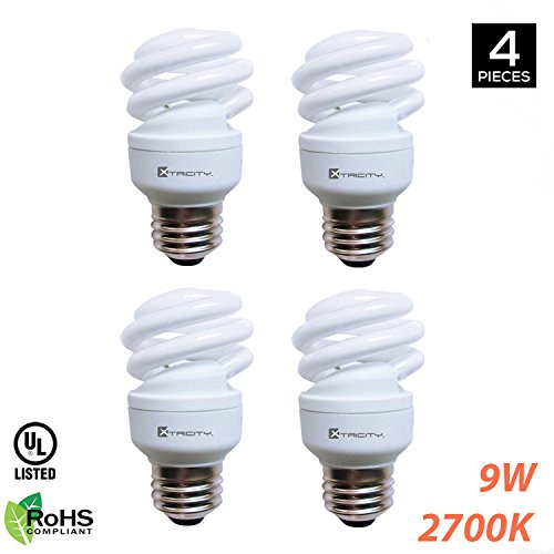 Xtricity Compact Fluorescent T2 Spiral CFL Energy Saver Light Bulb, 9W (40W Equivalent) 120 Volt, 540 Lumens, 2700K Soft White, E26 Medium Base, RoHS Compliant & UL Listed, (Pack of - Rated Bulb Compact Light Fluorescent