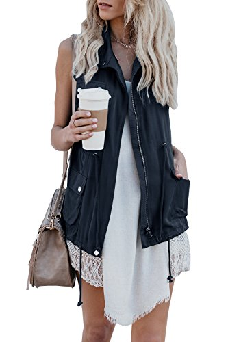 Pxmoda Women's Sleeveless Lightweight Drawstring Zipper up Military Jacket Vest Coat (XL,Navy)