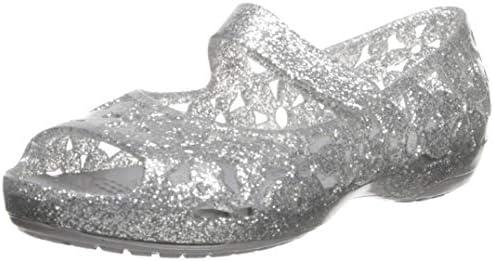 bc0f95e536a2d Crocs Girls' Isabella Flower Flat Ballet, Silver, 11 M US Little Kid ...