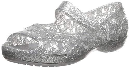 Crocs Girls' Isabella Flower Flat Ballet, Silver, 7 M US Toddler