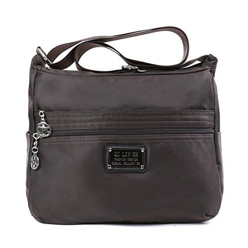 TENXITER Nylon Crossbody Handbag for Women with Pockets (Brown)