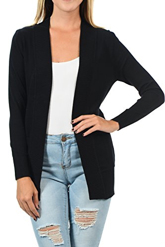 YourStyle Women Open Front Long Sleeve Classic Knit Cardigan (Small, Black) ()