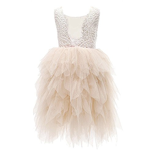 Topmaker Backless A-line Lace Back Flower Girl Dress (6Y, Non-Beaded-Ivory)