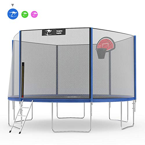 Kangaroo Hoppers 12 14 FT Trampoline with Safety Enclosure Net, Basketball Hoop and Ladder - 2019 Upgraded - Kids Basketball Trampoline - TUV and ASTM Tested - Multiple Color Choices (Blue, 14FT)