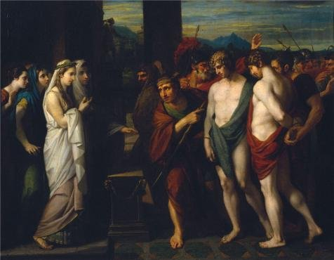 Perfect Effect Canvas ,the High Quality Art Decorative Prints On Canvas Of Oil Painting 'Benjamin West - Pylades And Orestes Brought As Victims Before Iphigenia,1766', 30x39 Inch / 76x98 Cm Is Best For Home Theater Gallery Art And Home Gallery Art And Gifts