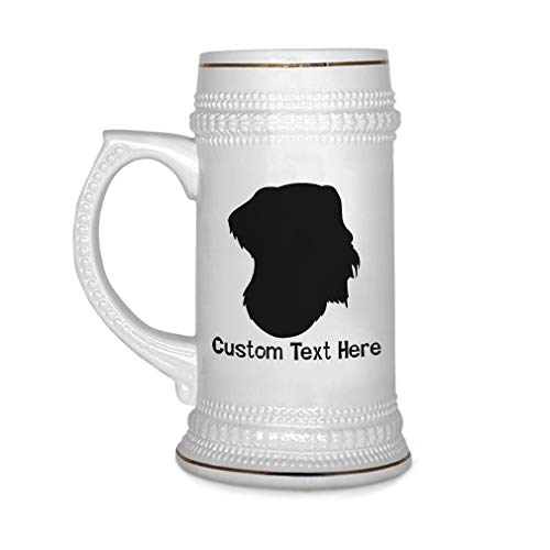 Custom Beer Mug German Wirehaired Pointer Silhouette Ceramic Drinking Glasses Beer Gifts White 18 OZ Personalized Text Here