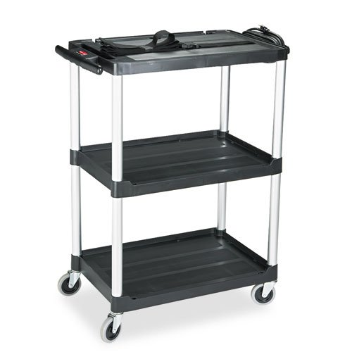 Rubbermaid® Commercial - Media Master AV Cart, 2-Shelf, 18-3/4w x 32-3/4d x 42h, Black - Sold As 1 Each - Brushed aluminum uprights and structural web plastic construction.