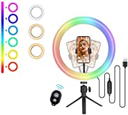 (New 2021) Cheelom 10 pulgadas aro de luz 48 color mode LED Ring Lamp aros de luz, Round Light Supplement Lamp