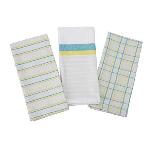 Hallmark Home Yellow and Aqua Waffle Weave Triple Kitchen Towel Set Pottery Barn Classic Stripe