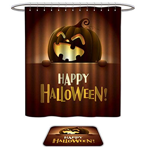 QianHe Shower Curtain Floor Mat Set of 2Happy Halloween!5. Mildew Resistant Slip mat Bath Rugs