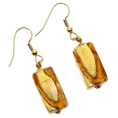 - GlassOfVenice Murano Glass Royal Cognac Block Earrings
