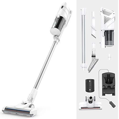 Upright Cordless Vacuum Cleaner, Bagless 2 in 1 Handheld Vacuum Cleaner with Power 2200mAh Rechargeable Battery, Lightweight Design Crevice Tool Brush Accessories for Home and Car Cleaning