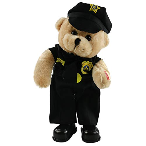 Houwsbaby Singing Police Justicial Teddy Bear Dancing Stuffed Animal in Uniform Electronic Plush Toy Interactive Animated Gift for Boys and Girls Halloween Christmas, Black, 14 inches (Teddy Bear Singing)