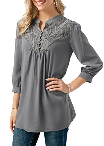 Notch Neck Top (Anlarhh Women's Notch Neck 3/4 Sleeve Front Button Chiffon Floral Lace Patchwork Loose Fit Blouses Tops Size S Grey)