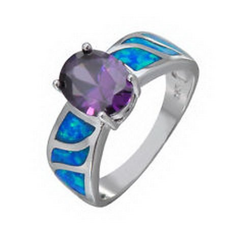 jacob alex ring Purple Amehyst&Blue Opal Wedding Ring Womens 925 Sterling Silver Size 10 Jewelry