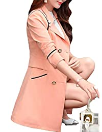 Domple Women's Slim Solid Color Double Breasted Lapel Trench Coat