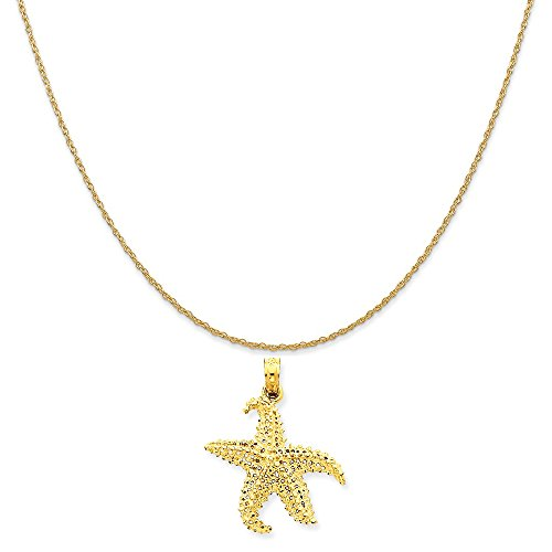 Mireval 14k Yellow Gold Polished Open-Backed Starfish Pendant on 14K Yellow Gold Rope Chain Necklace, 18