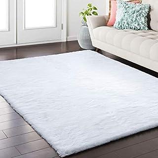 Softlife Fluffy Faux Fur Rug 3' x 5' Soft Area Rugs for Bedroom Girls Room Living Room Home Decor Floor Carpets, White Rectangle