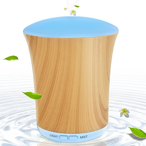 Aroma Diffusers for Essential Oils Wood Grain 200ml, BAXIA TECHONOLOGY Portable Ultrasonic Aromatherapy Diffuser Cool Mist Humidifier with 8 Color LED Lights for Office Home Room Study Yoga Spa
