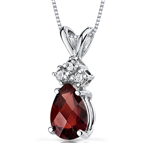14 Karat White Gold Pear Shape 1.00 Carats Garnet Diamond Pendant