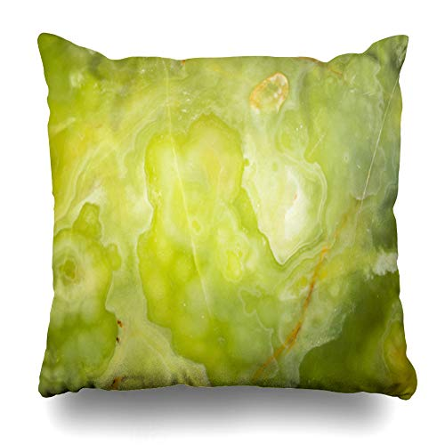 Ahawoso Throw Pillow Covers Marble Green Agate Lightened Slices Onyx Abstract Brown Backlit Bright Closeup Cloud Cream Design Home Decor Zippered Pillowcase Square Size 16 x 16 Inches Cushion Case