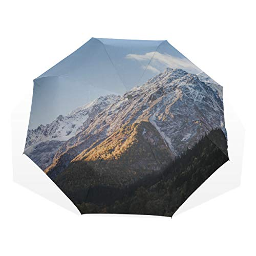 Travel Umbrella Snowy Winter Ski Runs Mountain Peak Anti Uv Compact 3 Fold Art Lightweight Foldable Umbrellas(outside Printing) Windproof Rain Sun Protection Umbrellas For Women Girls Kids