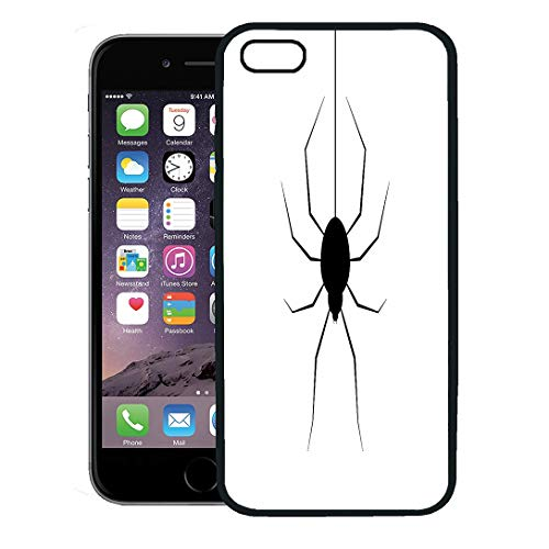 Semtomn Phone Case for iPhone 8 Plus case Cover,Arachnid Halloween Festival and Celebration Abstract Spider Hanging from Top Copy Space Autumn,Rubber Border Protective Case,Black -