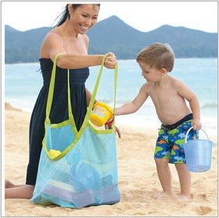 EDTara Outdoor Beach Mesh Tote Bag Durable Holding Beach Necessaries Children Toys Stay Away from Sand Blue net green - Beach Shopping In Vero