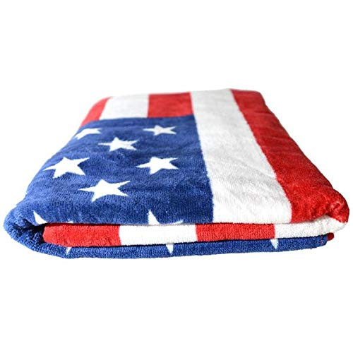 "Mullet On The Go American Flag Beach Towel 100% Cotton, Ultra Plush, 30""x60"""