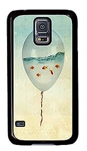 Diy Fashion Case for Samsung Galaxy S5,Black Plastic Case Shell for Samsung Galaxy S5 i9600 with The Balloon of Goldfish