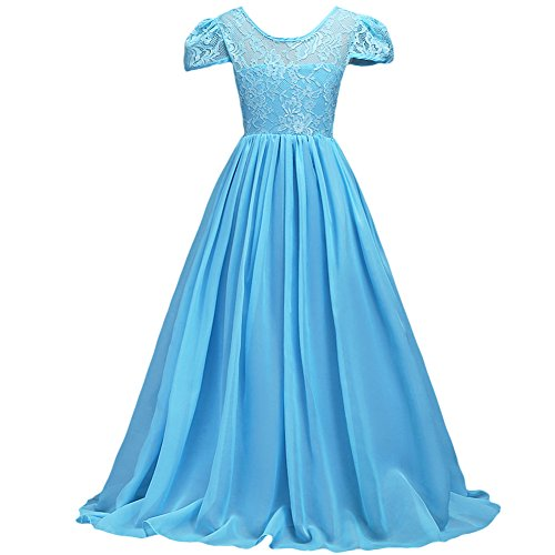 Kids Girls Flower Lace Chiffon Pageant Wedding Floor Length Dress Bridesmaid Birthday Prom Dance Maxi Gown ()