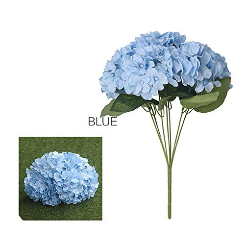 Memoirs- Artificial Silk Hydrangea Flower 7 Brooch Bouquet for DIY Wedding Wall Flore Party Home Accessory Decoration Flower 7 Colors,Blue