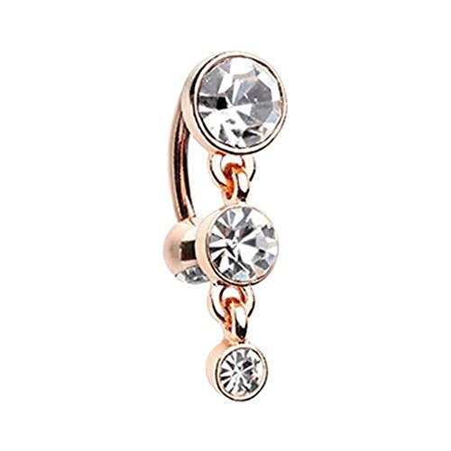 Rose Gold Triple Crystalline Reverse WildKlass Belly Button Ring (16 Gauge Dangle Gem)