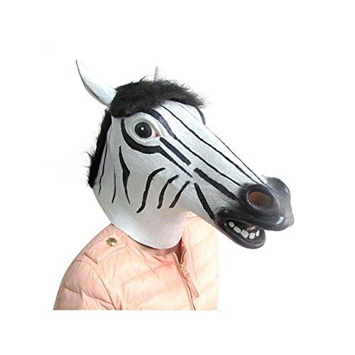 [Samaz Halloween Latex Mask Funny Cosplay Costume Animals Head Mask for Halloween Party (Zebra Mask)] (Zebra Head Costumes)