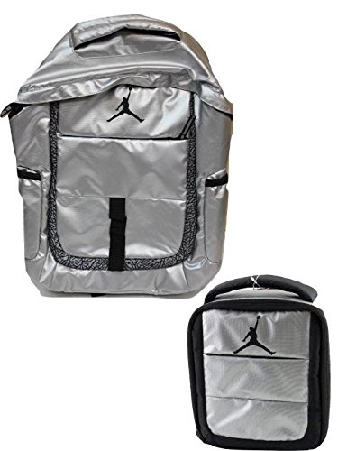46ba0fe60bdd24 Galleon - Nike Air Jordan Jumpman Jet Silver Laptop Backpack And Matching  Lunch Tote W FREE Cell Phone Anti-Dust Plug