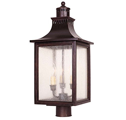 Savoy House Lighting 5-255-13  Monte Grande Collection 3-Light Outdoor Post Mount Lantern, English Bronze Finish with Pale Cream Seeded Glass - Bronze Renaissance Three Light