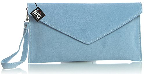Big Handbag Shop Genuine Italian Suede Leather Envelope Clutch Party Wedding Bag