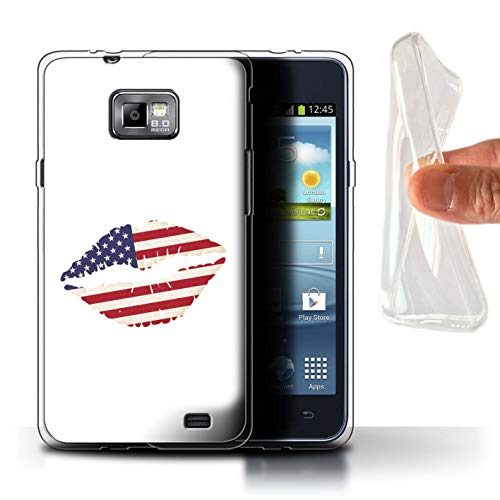 eSwish Gel TPU Phone Case/Cover for Samsung Galaxy S2/SII/I Love America Lipstick Kiss Design/USA America Pride - Galaxy For S2 Gel Samsung Cover