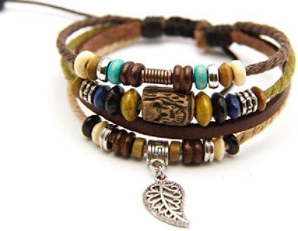 Agathe creation N02239 - Pulsera tibetana de la Suerte, Piel, cáñamo y Perlas de Madera, Terracota y Metal, Colgante de Hoja pequeña, Multicolor, Hecha a Mano