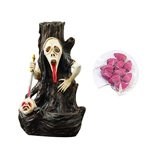 Backflow Incense Burner,Skeleton Ghost Incense Cone Holder Censer Furnace Resin Craft Decoration Halloween Ghost -