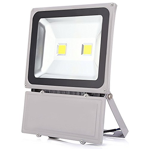 (GLW 100W LED Outdoor Flood Light Super Bright,9000lm,6000K,110V,250W HPS Bulb Equivalent,Waterproof IP65 Security Work Light,US 3 Prong)