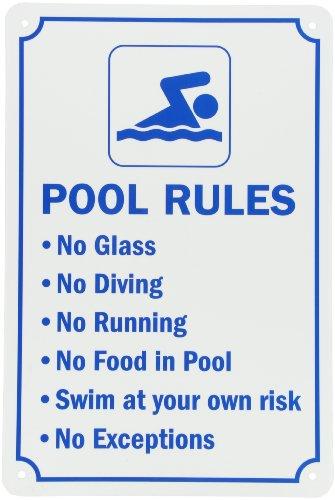 SmartSign Aluminum Sign, Legend Swimming Pool Rules, 18