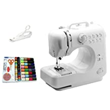 Michley Lil' Sew and LSS-505 Combo Mini Sewing Machine, Electrical Scissors and 100-Piece Sewing Kit