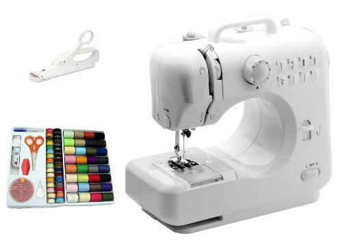 Michley-Tivax Lil' Sew & Sew LSS-505 Combo Mini Sewing Machine, Electrical Scissors and 100-Piece Sewing Kit (Michley Lil Sew & Sew Mini Sewing Machine)